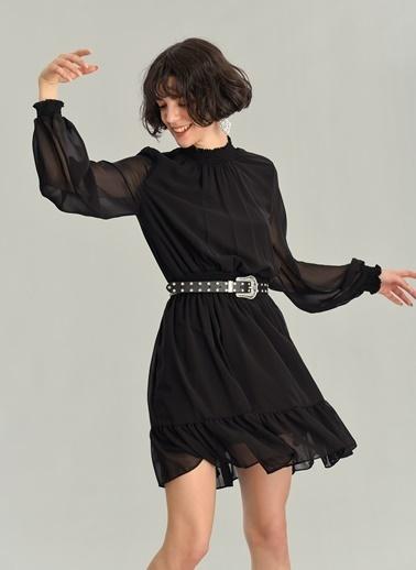 Agenda Gipeli Şifon Elbise Siyah